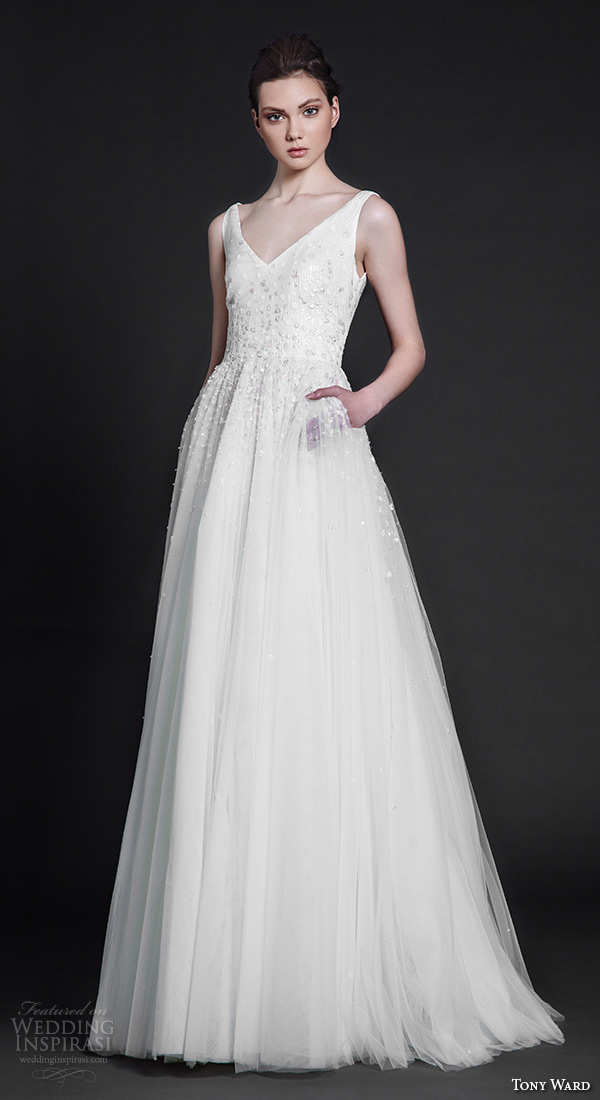 tony ward 2016 bridal sleeveless v neckline with strap beaded bodice modified a line wedding dress maggie