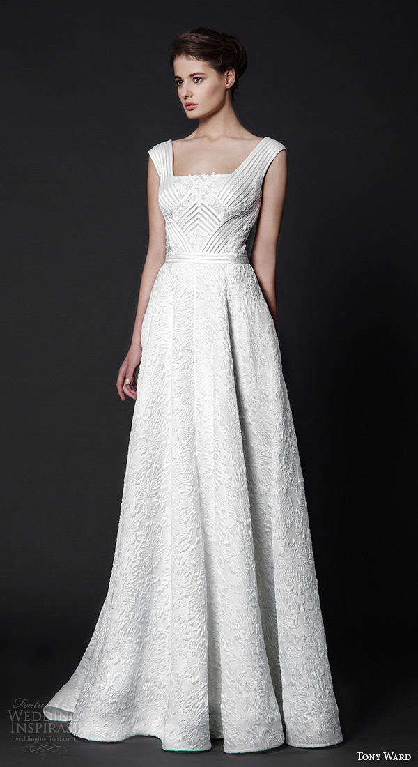 tony ward 2016 bridal square neckline modified a line wedding dress rosemary