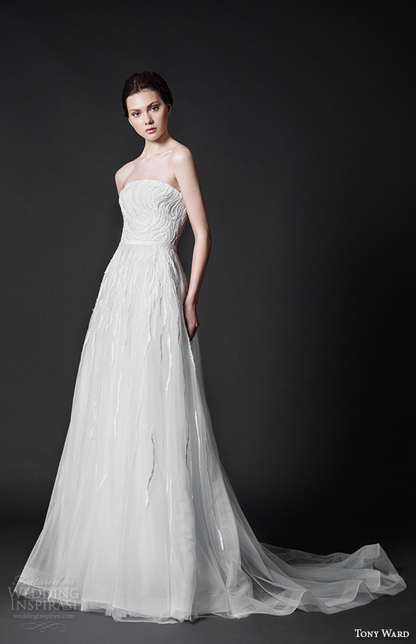 tony ward 2016 bridal strapless straight across neckline modified a line wedding dress sunflower