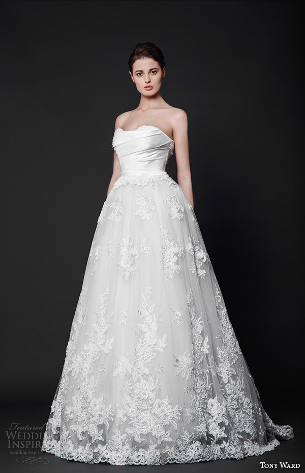tony ward 2016 bridal strapless straight across wedding ball gown dress caresse