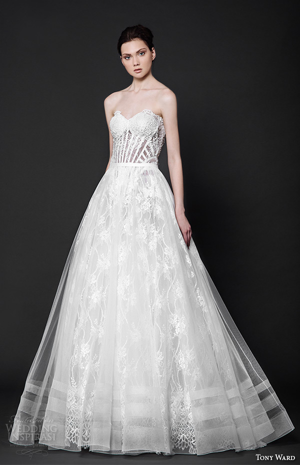 tony ward 2016 bridal strapless sweetheart neckline corset bodice a line wedding dress rhea