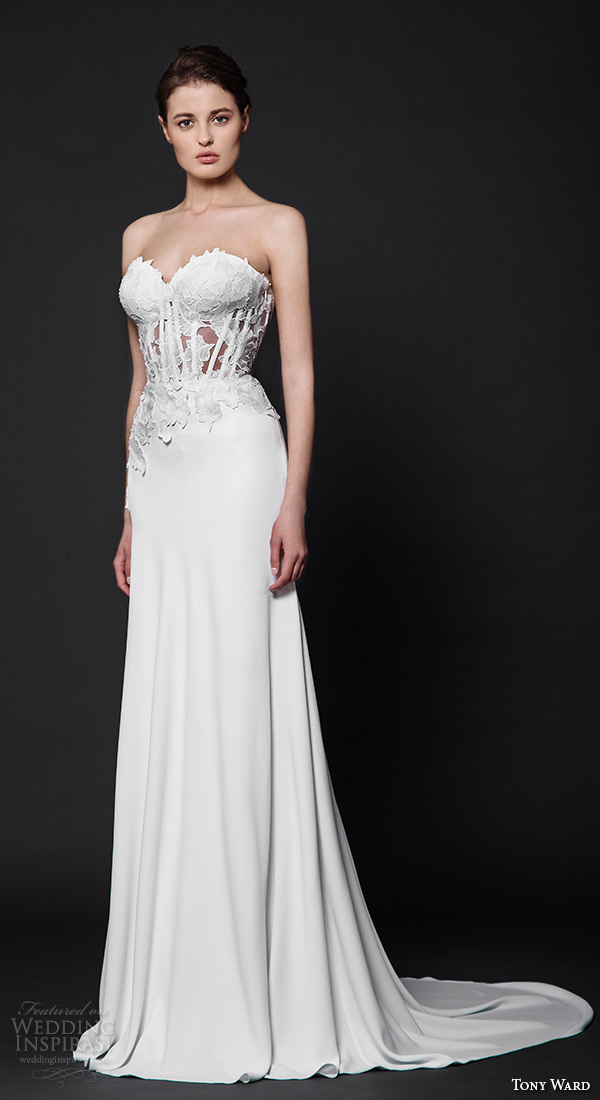 tony ward 2016 bridal strapless sweetheart neckline corset bodice sheath wedding dress karel