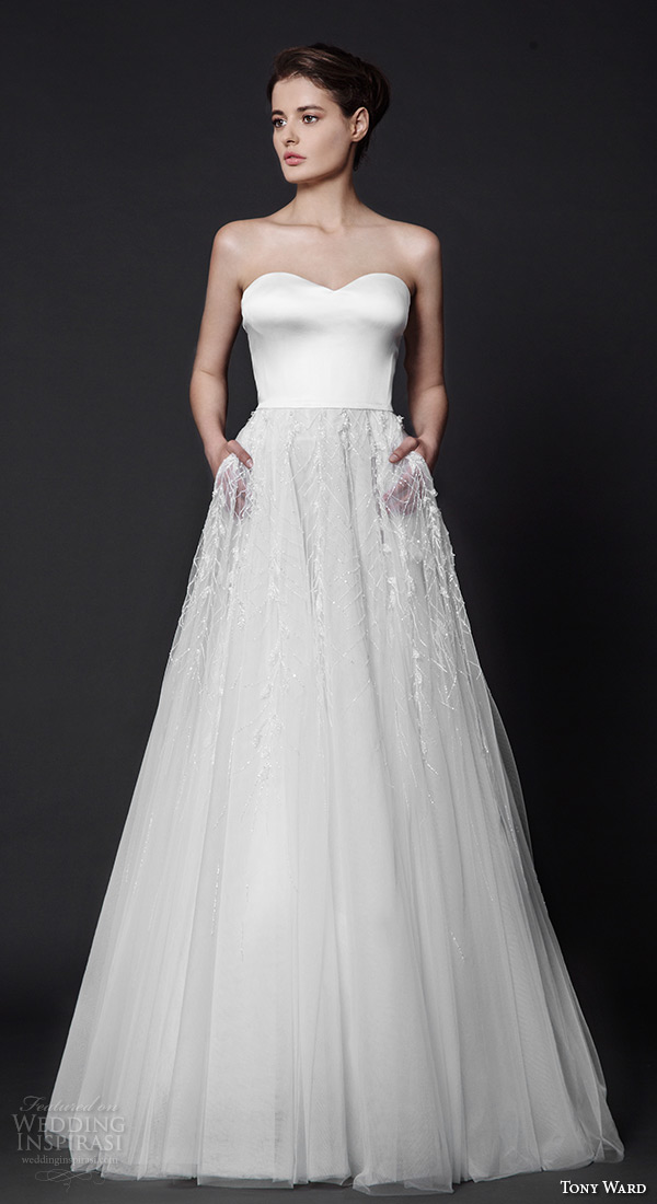 tony ward 2016 bridal strapless sweetheart neckline modified a line wedding dress with pockets rosette