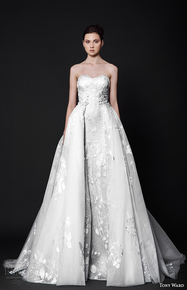 tony ward 2016 bridal strapless sweetheart neckline overlay skirt a line wedding dress penelope