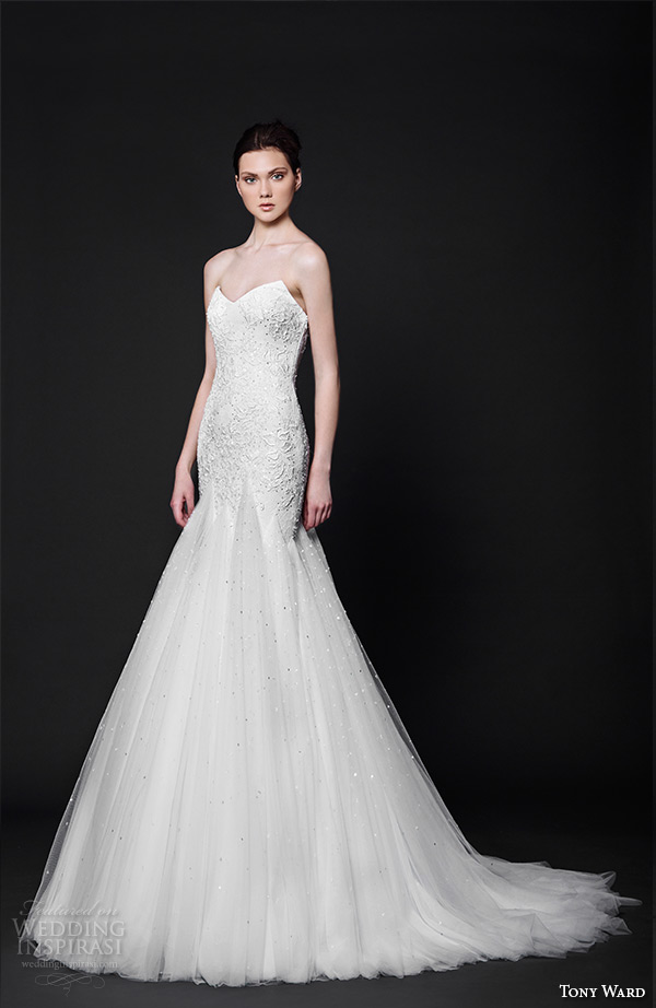 tony ward 2016 bridal sweetheart neckline strapless fit to flare mermaid wedding dress topaze