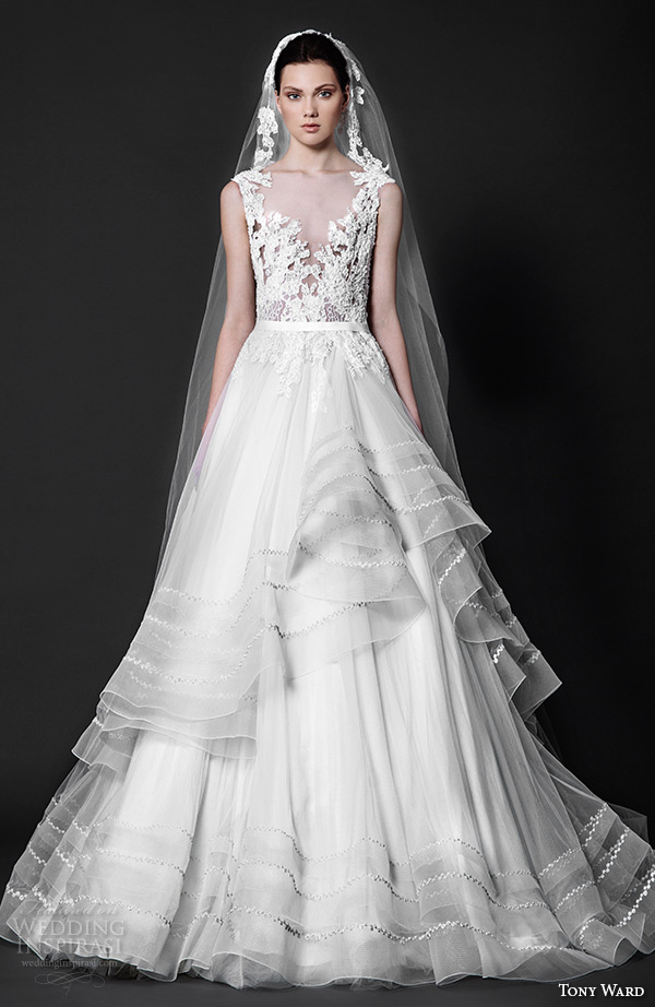 tony ward 2016 bridal v neck plunging neckline embroidery horse hair trim a line wedding dress complice