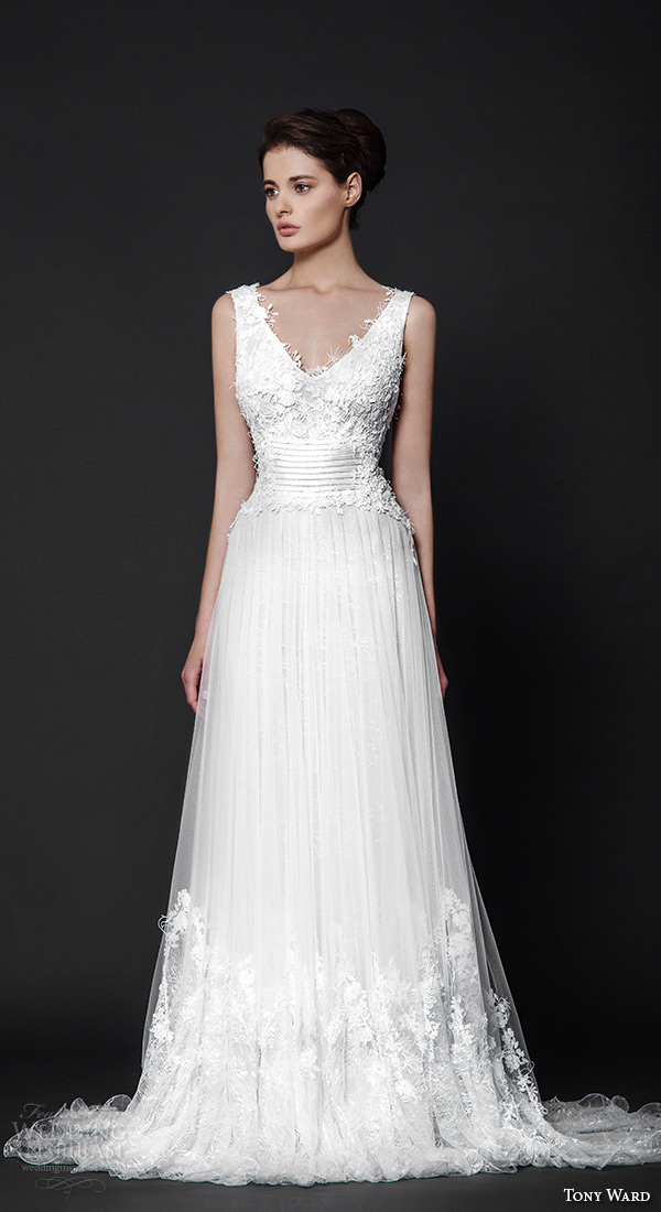 tony ward 2016 bridal v neck sleeveless modified a line wedding dress valentine