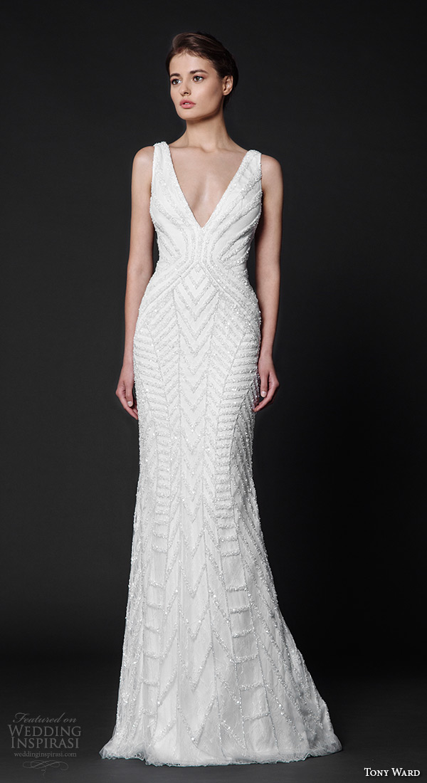 tony ward 2016 bridal v neckline beaded sheath wedding dress gallica