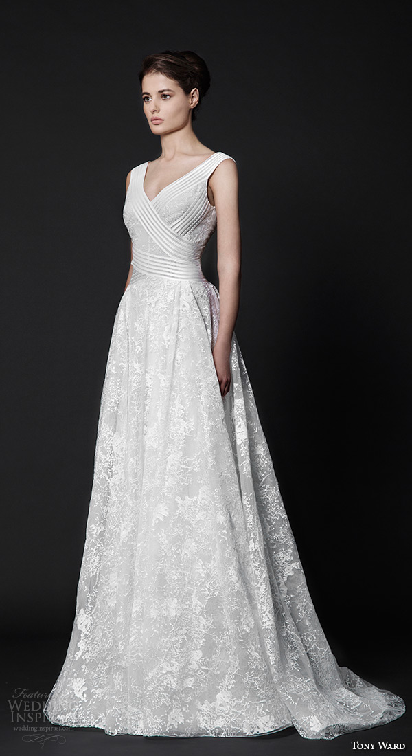 tony ward 2016 bridal v neckline modfied a line wedding dress dahlia