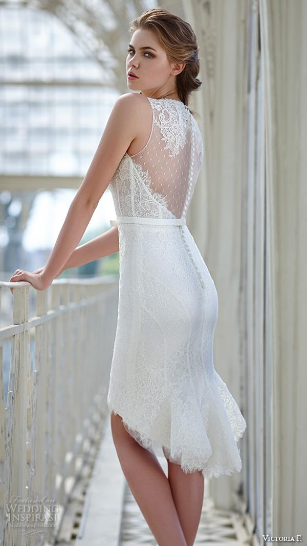 Victoria f 2016 wedding dresses pura eleganza bridal for Lace wedding short dress