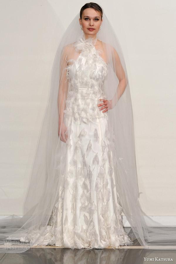 yumi katsura s2016 bridal halter neck sheath wedding dress bree front view runway with veil