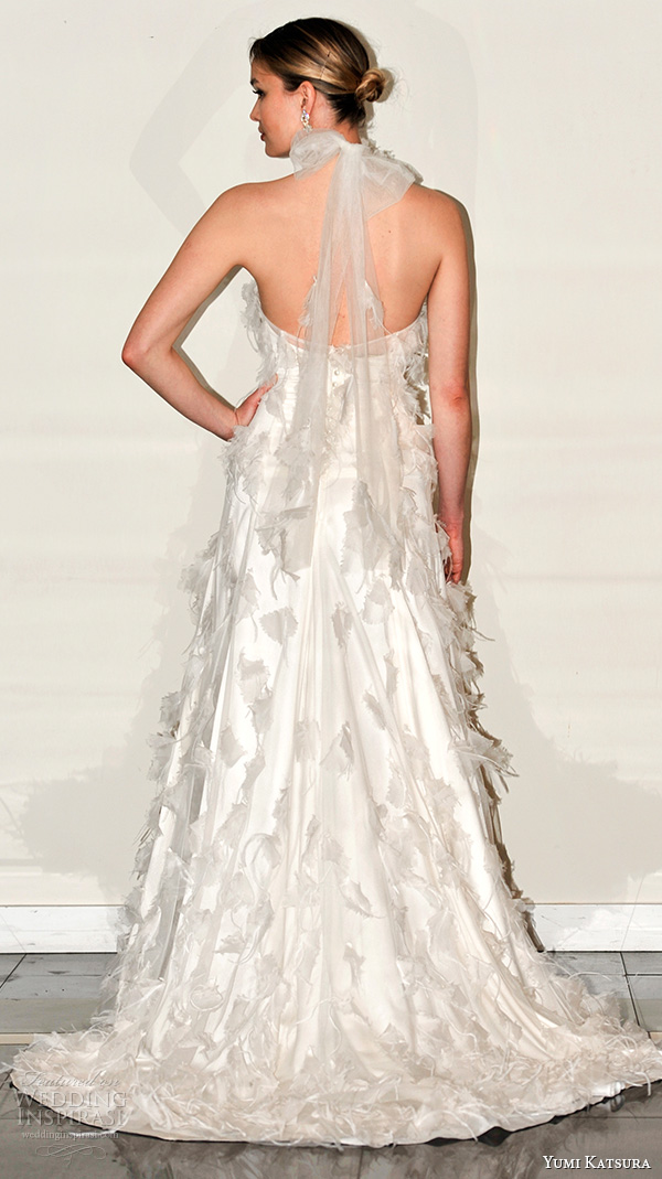 yumi katsura s2016 bridal halter neck sheath wedding dress bree runway back view