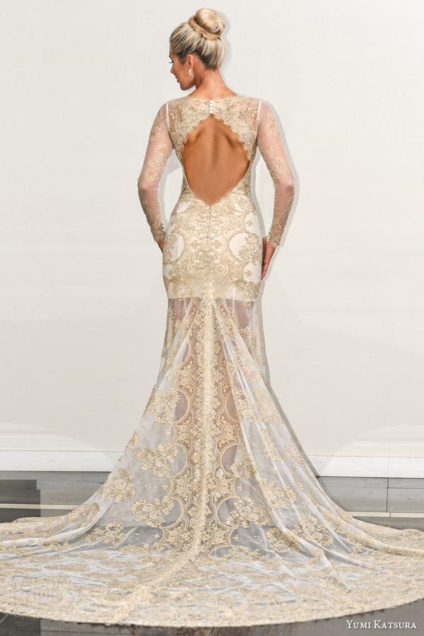 yumi katsura s2016 bridal long sleeves jewel neckline gold lace see through sheath wedding dress with chapel train behati runway back