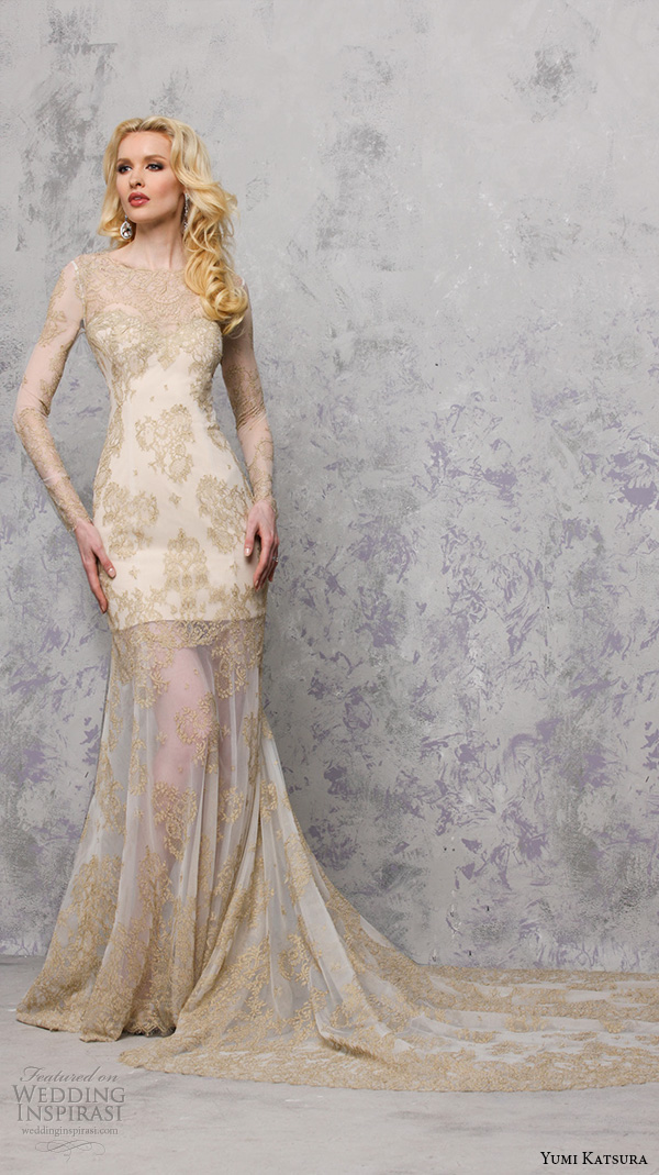 yumi katsura s2016 bridal long sleeves jewel neckline gold lace see through sheath wedding dress with chapel train behati