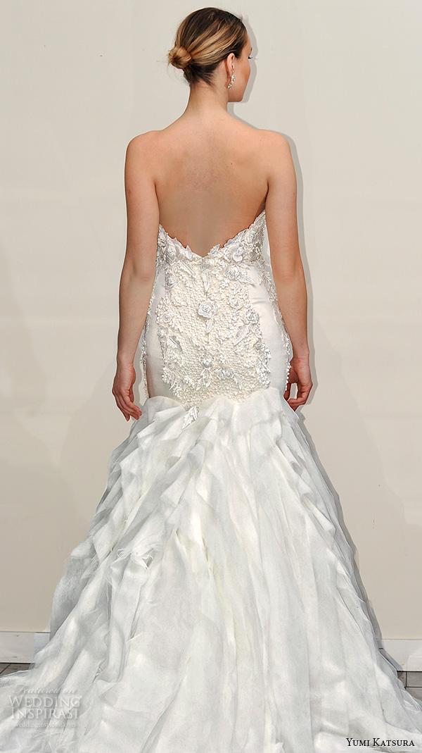 yumi katsura s2016 bridal strapless beaded bodice fit to flare mermaid wedding dress breana runway back view