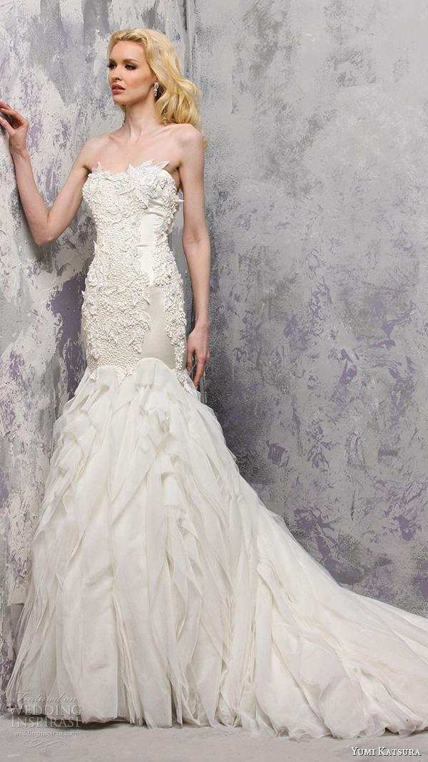 yumi katsura s2016 bridal strapless beaded bodice fit to flare mermaid wedding dress breana