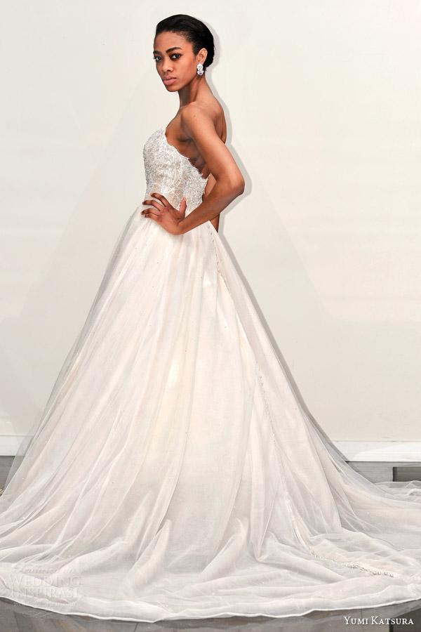 yumi katsura s2016 bridal strapless semi sweetheart neckline beaded bodice champagne color wedding ball gown dress bacara runway back
