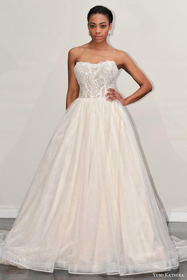 yumi katsura s2016 bridal strapless semi sweetheart neckline beaded bodice champagne color wedding ball gown dress bacara runway front