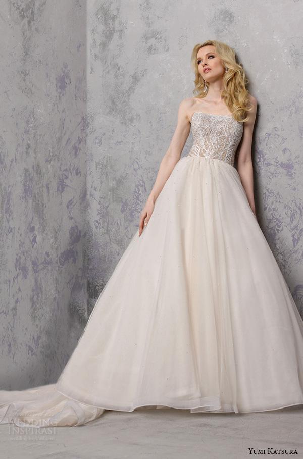 yumi katsura s2016 bridal strapless semi sweetheart neckline beaded bodice champagne color wedding ball gown dress bacara
