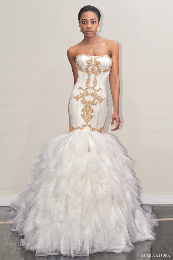yumi katsura s2016 bridal strapless semi sweetheart neckline gold embroidery trumpet mermaid wedding dress with chapel train botan front view runway