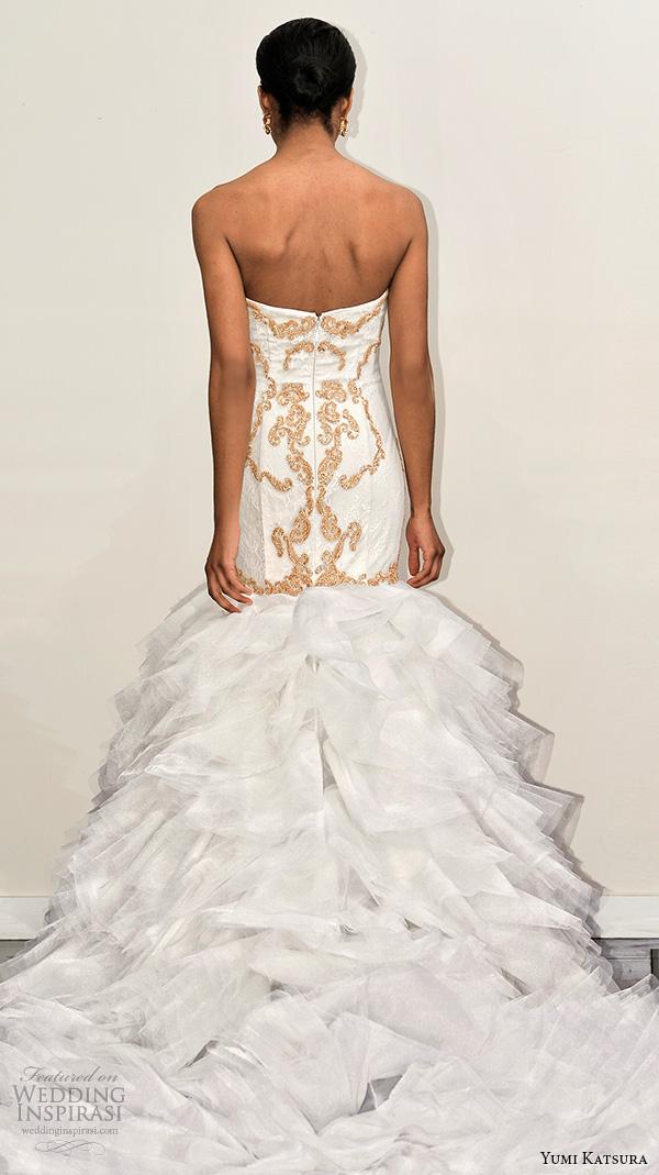 yumi katsura s2016 bridal strapless semi sweetheart neckline gold embroidery trumpet mermaid wedding dress with chapel train botan runway back view