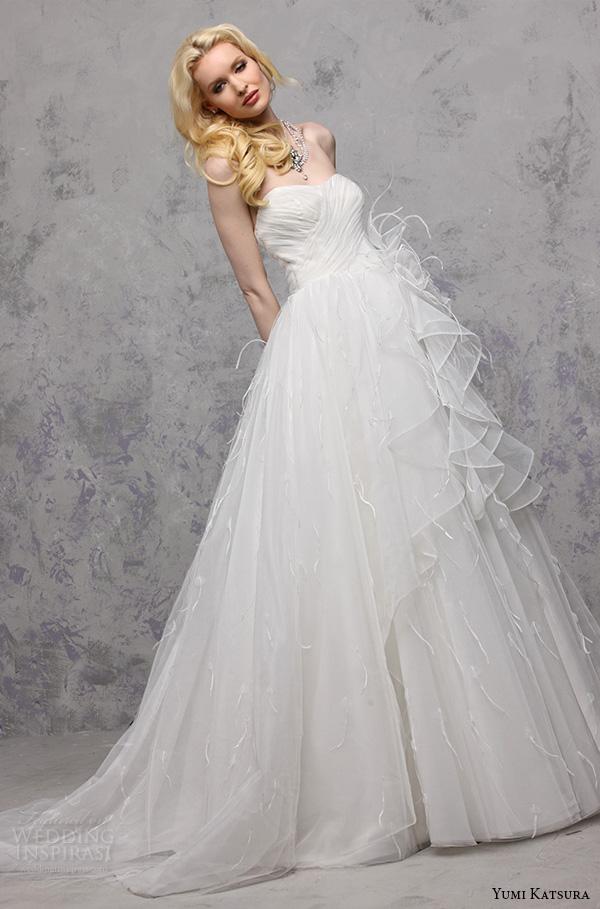 yumi katsura s2016 bridal strapless semi sweetheart neckline pleated bodice wedding ball gown dress baku