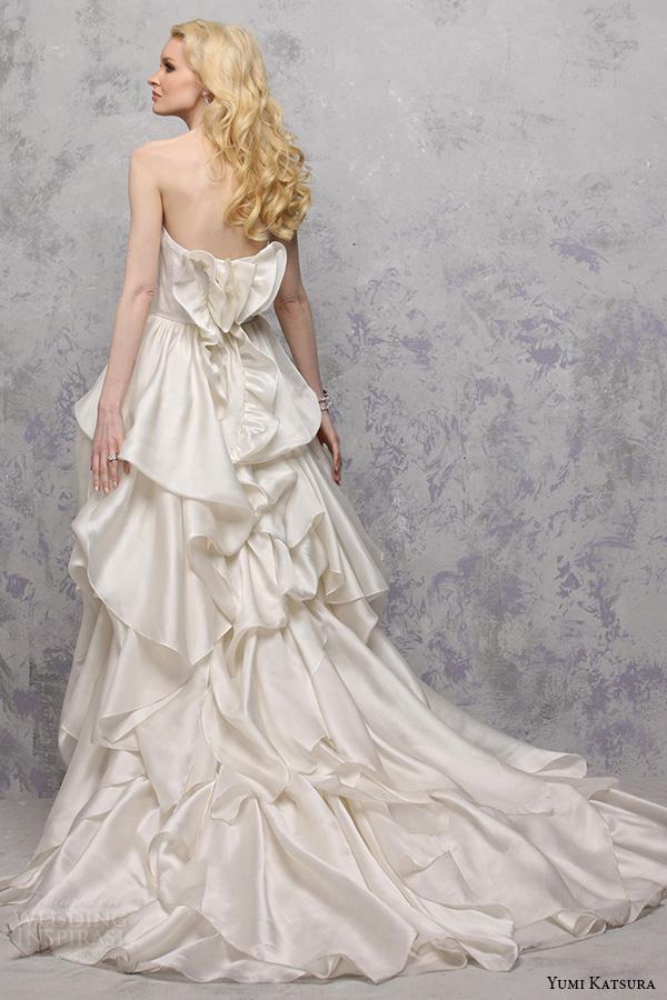 yumi katsura s2016 bridal strapless straight across tiered a line ball gown wedding dress babette back view