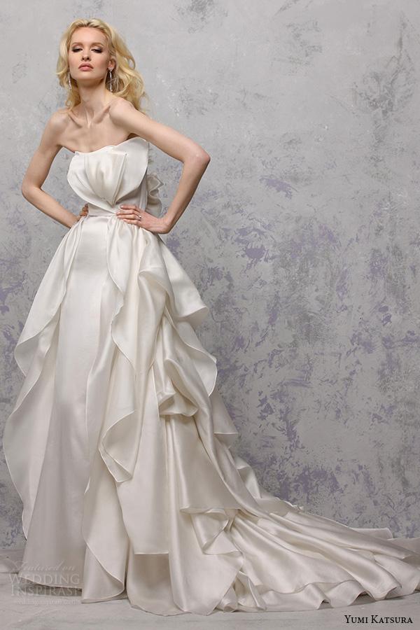 yumi katsura s2016 bridal strapless straight across tiered a line ball gown wedding dress babette