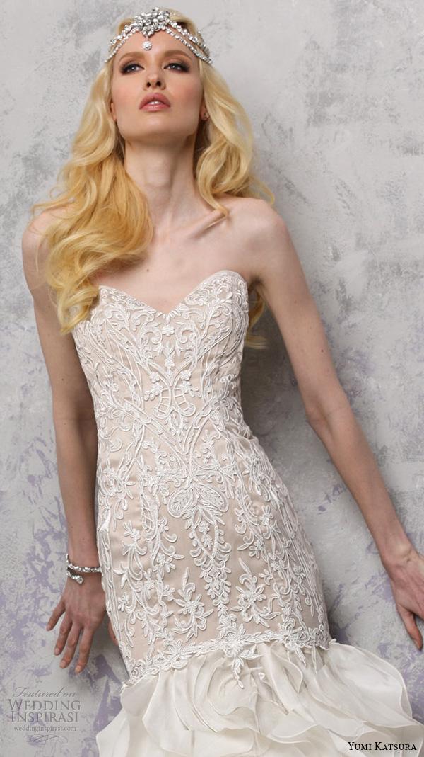 yumi katsura s2016 bridal strapless sweetheart neckline filigree lace champagne color off white mermaid wedding dress bethany close up