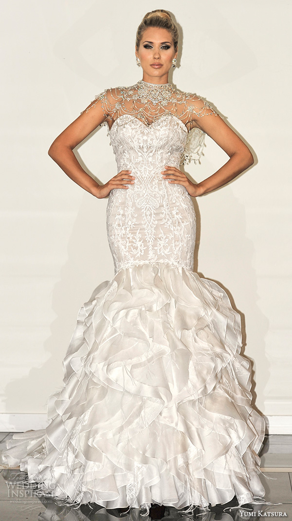 yumi katsura s2016 bridal strapless sweetheart neckline filigree lace champagne color off white mermaid wedding dress bethany with bolero