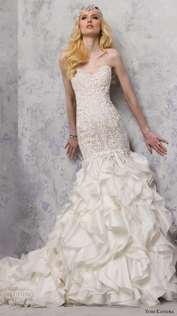 yumi katsura s2016 bridal strapless sweetheart neckline filigree lace champagne color off white mermaid wedding dress bethany