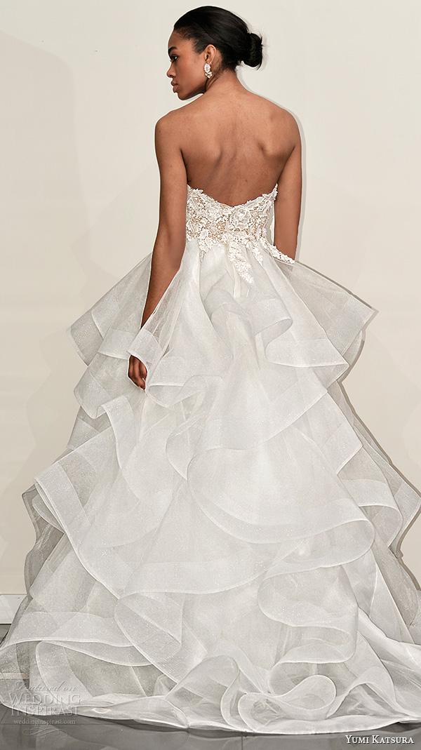 yumi katsura s2016 bridal strapless sweetheart neckline flora embroidery horsehair trim wedding ball gown dress boyet back view