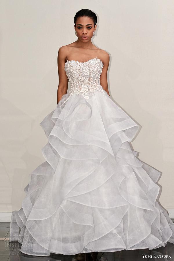 yumi katsura s2016 bridal strapless sweetheart neckline flora embroidery horsehair trim wedding ball gown dress boyet front view runway
