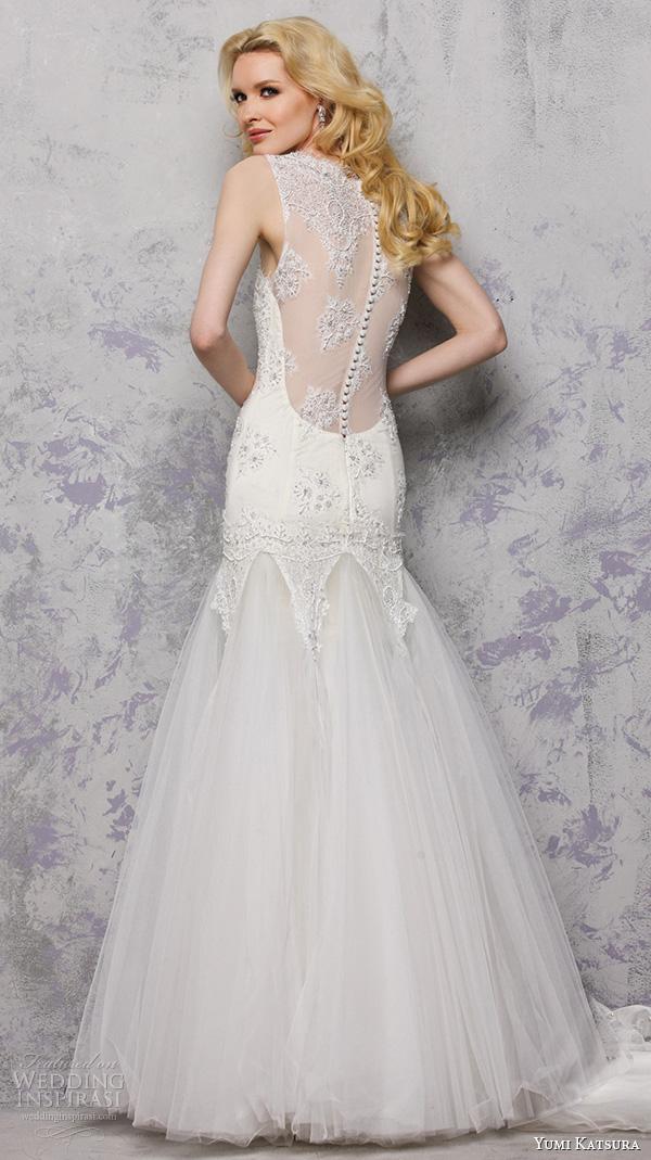 yumi katsura s2016 bridal sweetheart neckline with straps beaded bodice mermaid wedding dress lace back biron back view