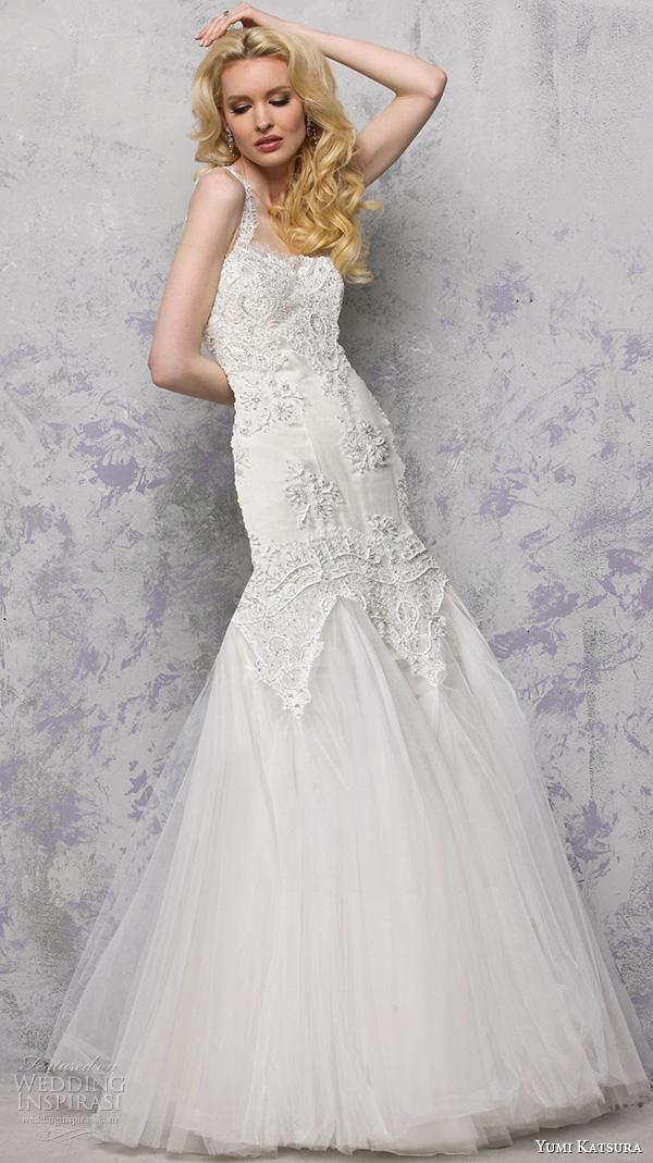 yumi katsura s2016 bridal sweetheart neckline with straps beaded bodice mermaid wedding dress lace back biron