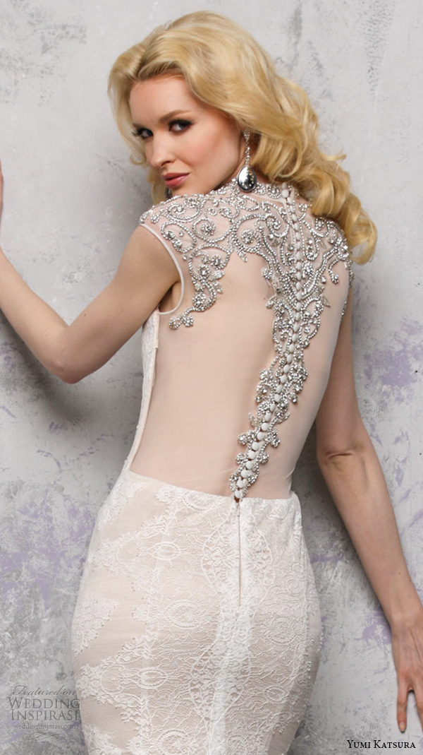 yumi katsura s2016 bridal sweetheart sleeveless jewel neckline with embroidery champagne color sheath wedding dress with train bhaga back view close up
