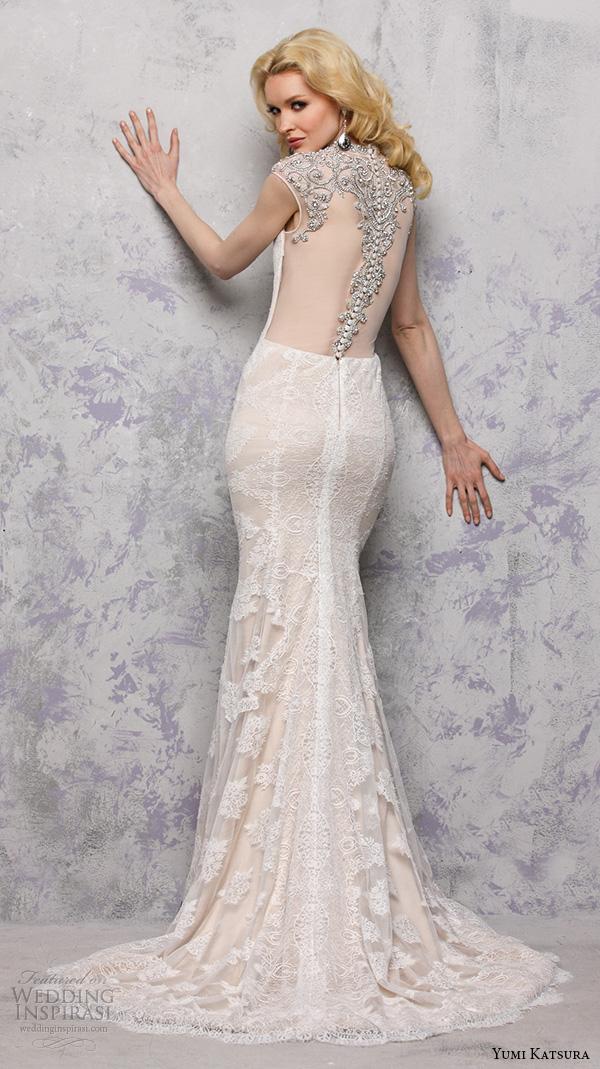 yumi katsura s2016 bridal sweetheart sleeveless jewel neckline with embroidery champagne color sheath wedding dress with train bhaga back view