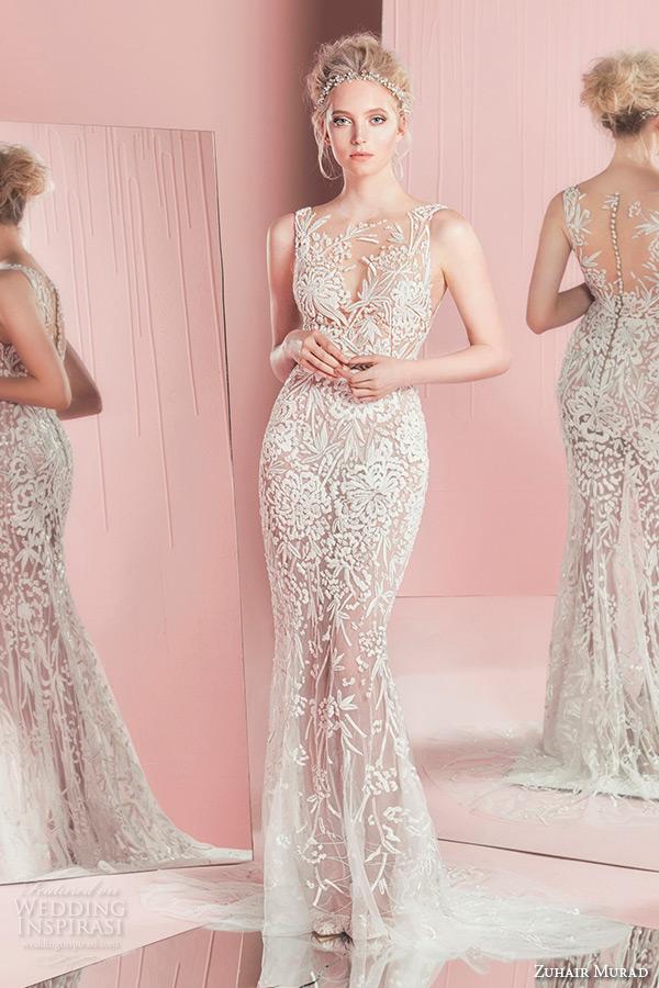 zuhair murad spring summer 2016 bridal bateau sheer neckline lace embroidery sheath wedding dress paola