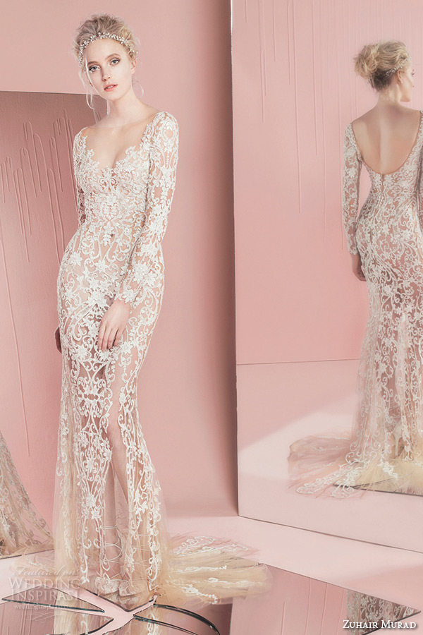 zuhair murad spring summer 2016 bridal long sleeves sweetheart neckline lace sheath wedding dress penny