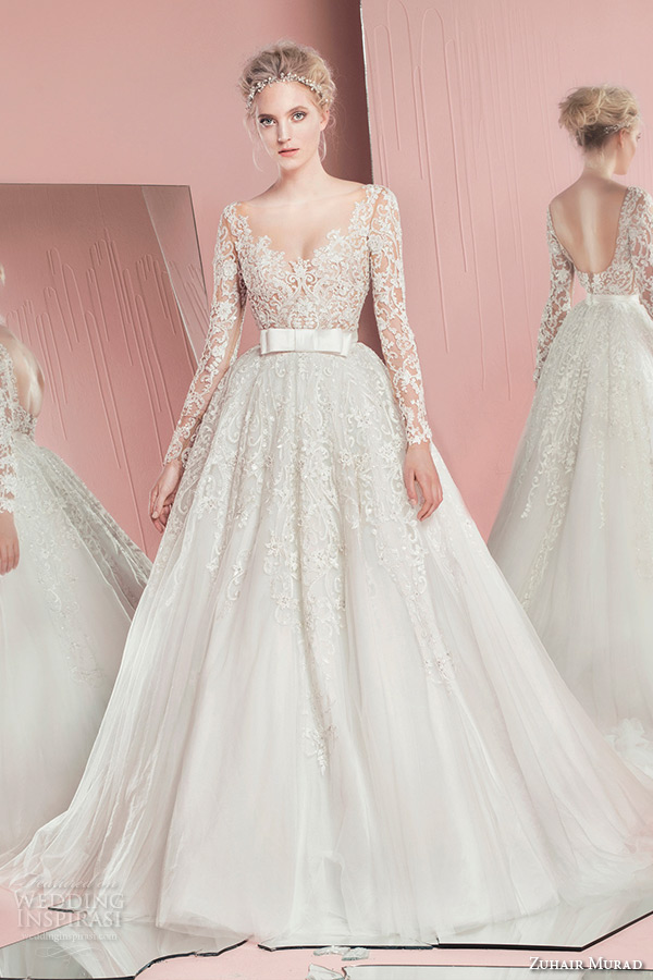 Zuhair Murad Spring Summer 2016 Bridal Long Sleeves Sweetheart Neckline Lace Wedding Ball Gown Overskirt Penny