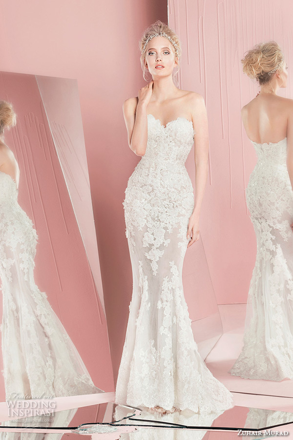 zuhair murad spring summer 2016 bridal strapless sweetheart neckline lace sheath wedding dress patsy