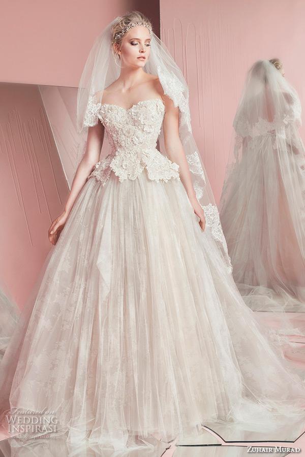 zuhair murad spring summer 2016 bridal strapless sweetheart neckline peplum wedding ball gown dress paige