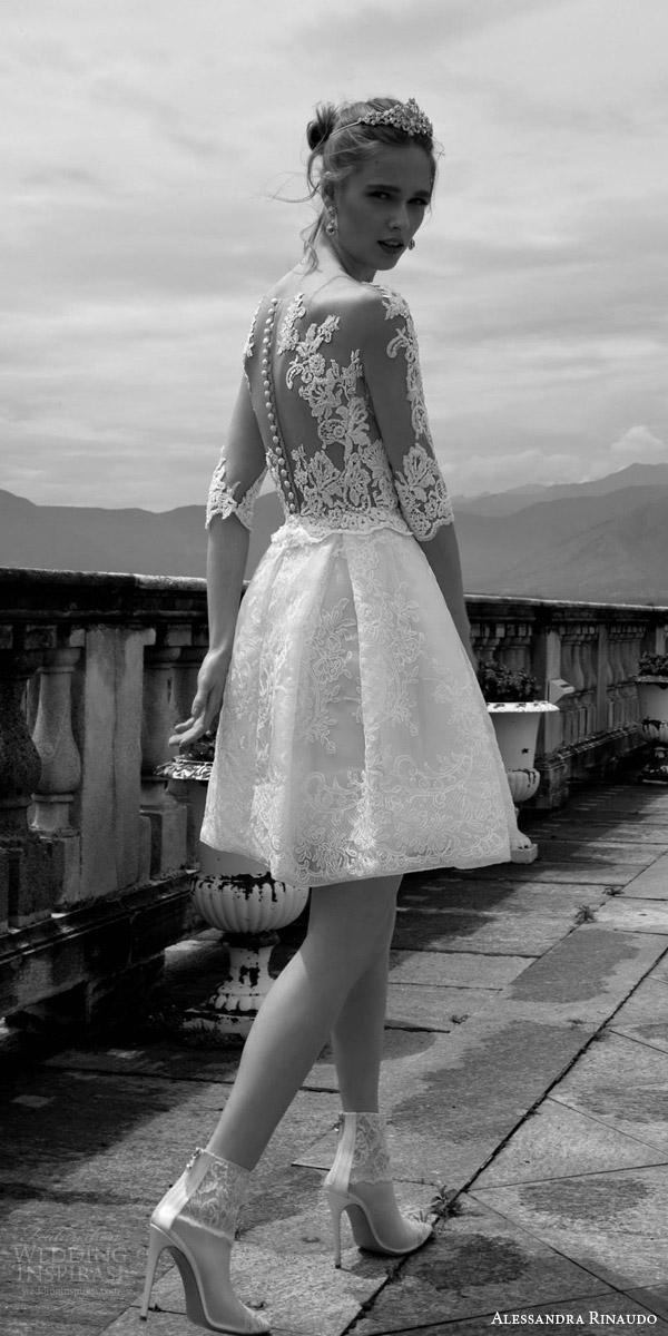 alessandra rinaudo 2016 bridal tamara short wedding dress illusion three quarter lace sleeves back view