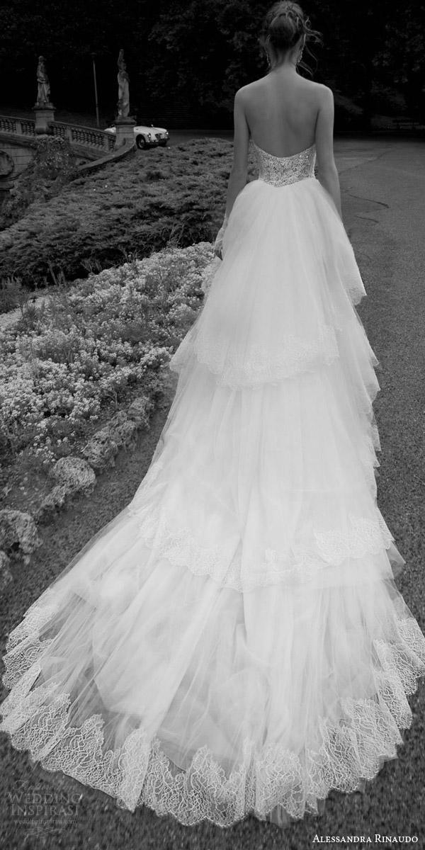 alessandra rinaudo 2016 bridal tasha strapless sweetheart lace wedding dress tulle train tiered back view