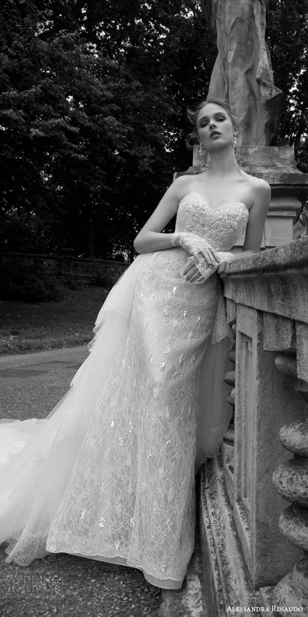 alessandra rinaudo 2016 bridal tasha strapless sweetheart lace wedding dress tulle train