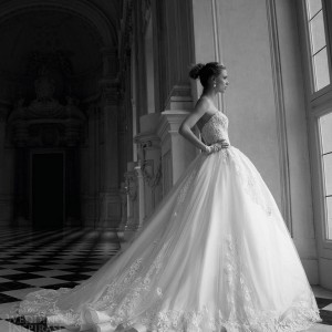 alessandra rinaudo 2016 bridal tina strapless ball gown gorgeous wedding dress sweetheart lace bodice side view voluminous skirt train