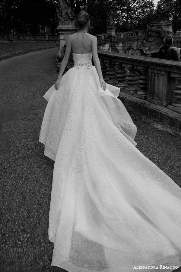 alessandra rinaudo bridal 2016 thais strapless crumb catcher neckline high to low wedding dress back view