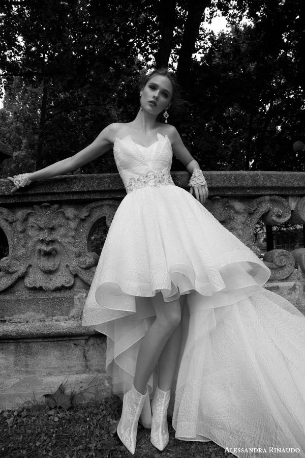 alessandra rinaudo bridal 2016 thais strapless crumb catcher neckline high to low wedding dress front view