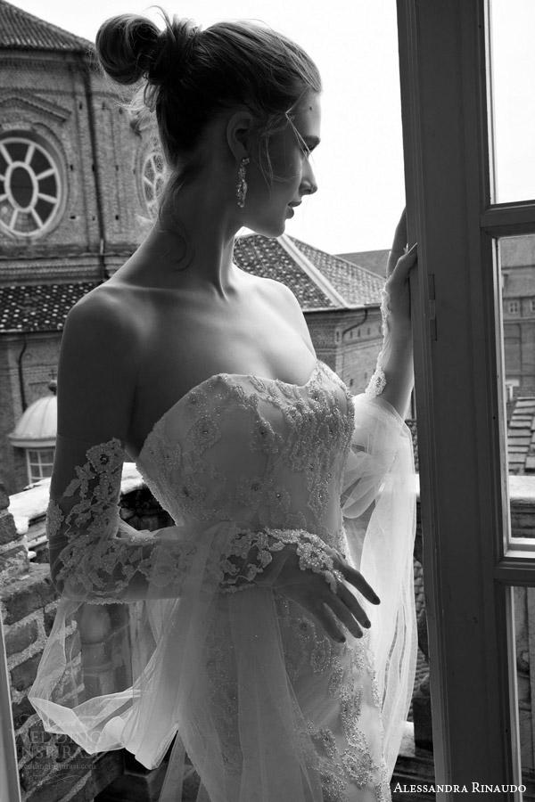 alessandra rinaudo bridal 2016 tianna strapless sweetheart lace wedding dress detached long sleeves close up beaded bodice