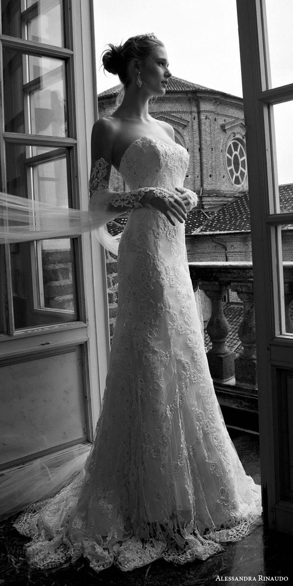 alessandra rinaudo bridal 2016 tianna strapless sweetheart lace wedding dress detached long sleeves